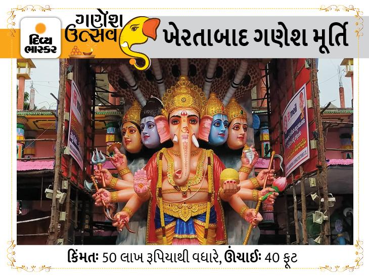 ગણેશ ચતુર્થીના દિવસે 50 લાખમાં બનેલી 40 ફૂટ ઊંચી મૂર્તિના દર્શન કરો, આ મૂર્તિ 150થી વધારે કલાકારોએ 2 મહિનામાં તૈયાર કરી છે ધર્મ દર્શન,Dharm Darshan - Divya Bhaskar