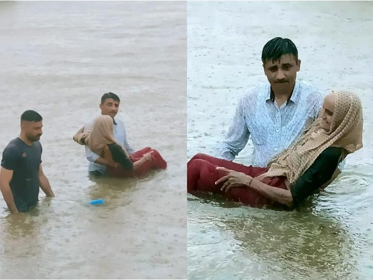 લોધિકામાં 10 કલાકમાં અધધ..18 ઇંચ વરસાદ ખાબક્યો, કમરડૂબ પાણીમાં PSIએ વૃદ્ધાને તેડી જીવ બચાવ્યો, દેવગામ બેટમાં ફેરવાયું|રાજકોટ,Rajkot - Divya Bhaskar