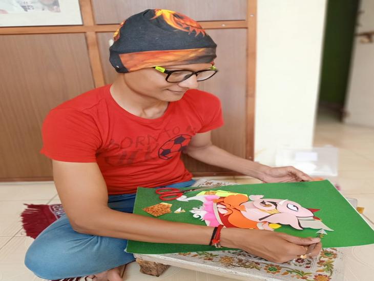 રંગબેરંગી કાગળના 108 ટુકડાથી 3ડી પેપર એન્જિનિયરિંગ આર્ટ બનાવ્યું|રાજકોટ,Rajkot - Divya Bhaskar