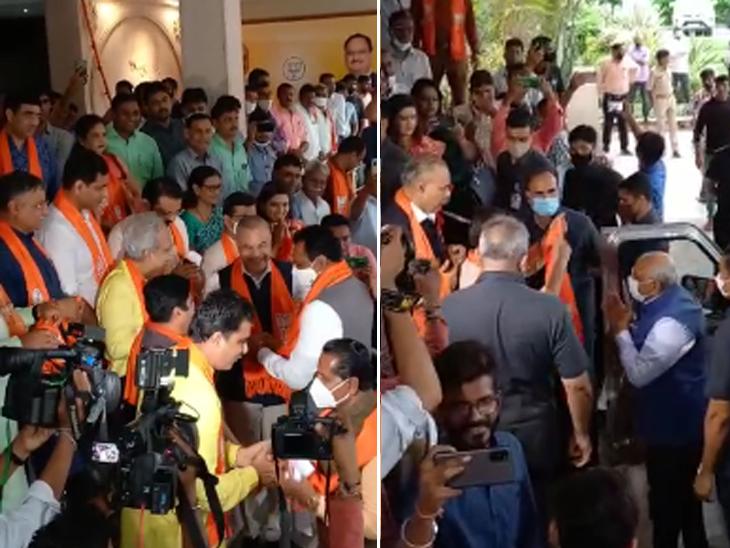 નવા મંત્રીઓ પહોંચ્યા કમલમ, ઢોલ નગારા સાથે મુખ્યમંત્રી-મંત્રીઓનું સ્વાગત, પાટીલ-ભૂપેન્દ્ર યાદવ સહિતના નેતાઓની બેઠક|અમદાવાદ,Ahmedabad - Divya Bhaskar