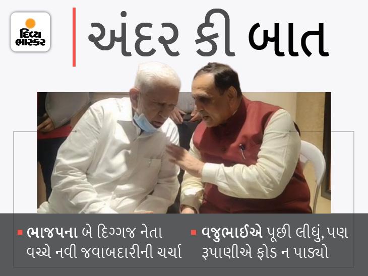 'ઈ કરી'ને વજુભાઇએ કહ્યું- 'નવી જવાબદારી સોંપે તો ભલે, ન સોંપે તો પણ ભલે... કરીએ છીએ તેમ કામ કરીશું' રૂપાણી બોલ્યા 'હા... બરોબર છે'|રાજકોટ,Rajkot - Divya Bhaskar