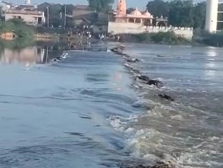 ગોદાવરી ગામે પુલ પર પાણી આવી જતા લોકો પરેશાન. - Divya Bhaskar