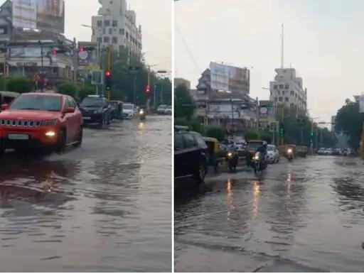 અમદાવાદમાં શનિવારે 1 ઈંચ વરસાદથી ઉસ્માનપુરામાં પાણી ભરાયા હતા