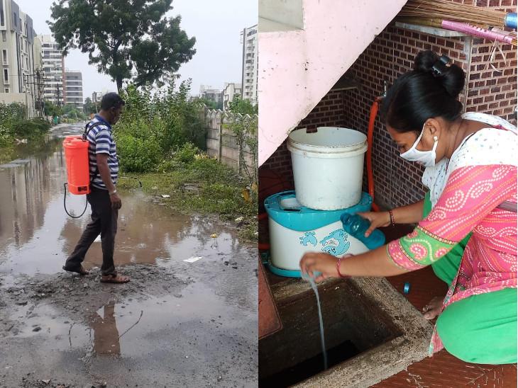 પાણી ભરેલા ખાડામાં દવાનો છંટકાવ અને પાણીના ટાંકામાં દવા નાખવામાં આવી. - Divya Bhaskar