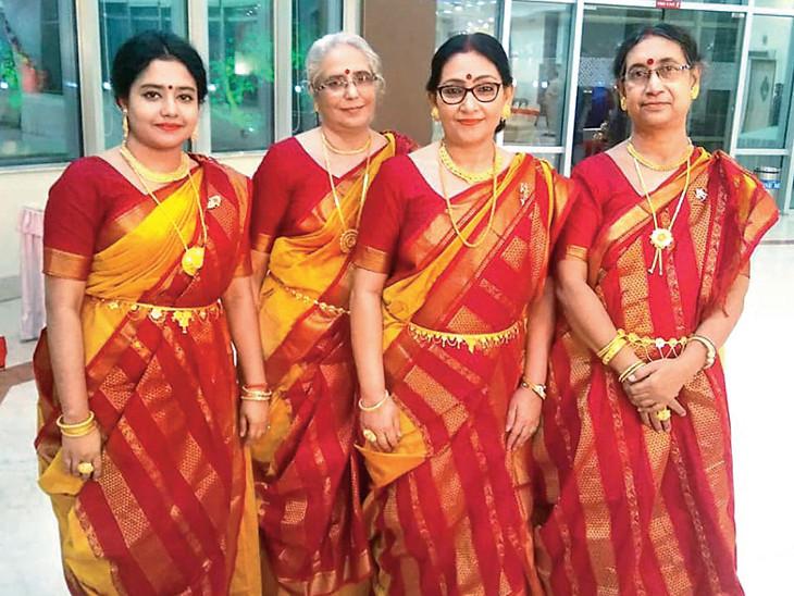 પૂજાની નવી પરંપરા - ડાબેથી પોલોમી, સેમાંતી, નંદિની અને રુમા. - Divya Bhaskar