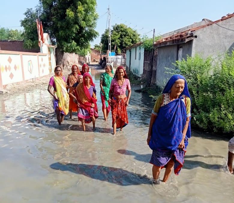 સવલાસમાં એક માસથી વરસાદી પાણીનો ભરાવો થતા રોગચાળાનો ભય - Divya Bhaskar