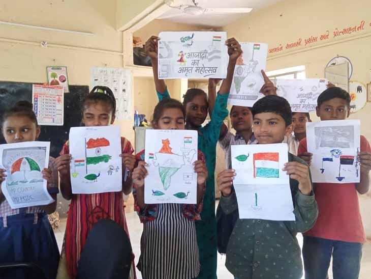 અરવલ્લી જિલ્લામાં આઝાદીકા અમૃત મહોત્સવના ભાગરૂપે ક્લીન ઇન્ડિયા ચિત્ર સ્પર્ધામાં બાળકો એ ભાગ લીધો હતો - Divya Bhaskar