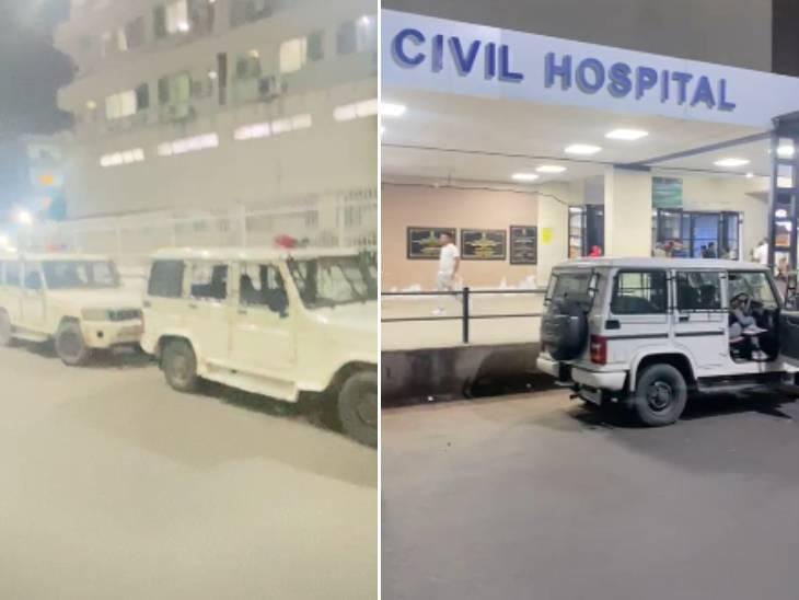 હોસ્પિટલ બહાર પીધેલા લોકોને લઈ આવેલી પોલીસના વાહનોની કતાર લાગી હતી