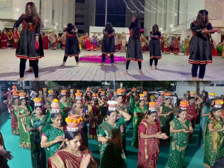 સોના વાટકડી રે....આઠમાં નોરતે કોઝી કોર્ટ યાર્ડમાં યુવતીઓના ભુવારાસ, ત્રિમૂર્તિ ગ્રુપની 51 મહિલાઓ માથા પર સગળતા ગરબા મૂકી ગરબે ઘૂમી|રાજકોટ,Rajkot - Divya Bhaskar