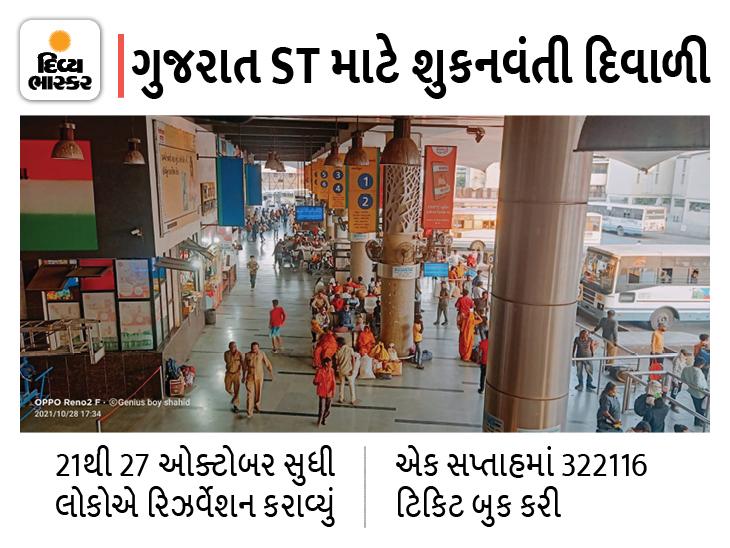 દિવાળી તહેવારમાં ST બસના એડવાન્સ ટિકિટ બુકિંગનો આંક 50 હજારને પાર કરશે, સૌથી વધુ 60% પ્રવાસી દાહોદ-પંચમહાલના તરફના|અમદાવાદ,Ahmedabad - Divya Bhaskar
